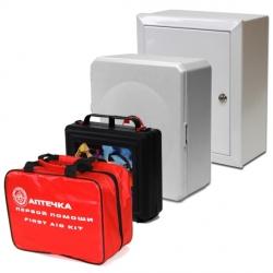 Аптечка для оказания первой помощи работникам (приказ № 169н от 05.03.2011г.) в четырех исполнениях: в пластиковом чемоданчике, пластиковом и металлическом шкафчике, в сумке.